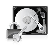 Computer harddrive and lock Royalty Free Stock Image
