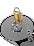 Computer harddrive and padlock Royalty Free Stock Photography