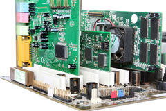 Computer Hardware. Motherboard with video card, sound card Royalty Free Stock Photo