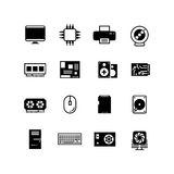 Computer hardware, hdd memory, ram, microchip, cpu vector icons Royalty Free Stock Images