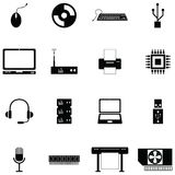 Computer hardware icon set stock illustration