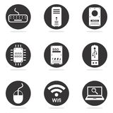 Computer hardware icon set. Black and white computer hardware icon set Stock Image