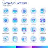 Computer Hardware Icon Set. Modern gradient style. Vector EPS 10 royalty free illustration