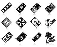 Computer hardware icons stock illustration