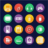 Computer Hardware Icons Flat Design Circle. This image is a vector illustration and can be scaled to any size without loss of resolution vector illustration