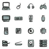 Computer Hardware Icons Freehand 2 Color. This image is a vector illustration and can be scaled to any size without loss of resolution stock illustration