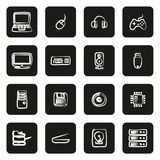 Computer Hardware Icons Freehand White On Black. This image is a vector illustration and can be scaled to any size without loss of resolution stock illustration