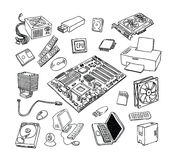 Computer Hardware Icons. PC Components Stock Images