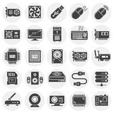 Computer hardware icons set on background for graphic and web design. Simple illustration. Internet concept symbol for royalty free illustration