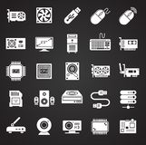 Computer hardware icons set on background for graphic and web design. Simple illustration. Internet concept symbol for vector illustration