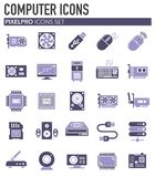 Computer hardware icons set on background for graphic and web design. Simple illustration. Internet concept symbol for stock illustration