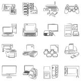 Computer hardware icons Stock Image