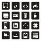 Computer Hardware Icons White On Black. This image is a vector illustration and can be scaled to any size without loss of resolution stock illustration