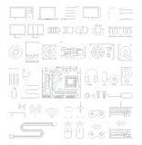Computer hardware line icons set. Stock Images