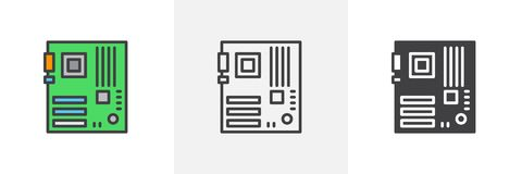 Computer hardware, motherboard icon royalty free illustration