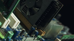 Computer Hardware. Motherboard with video card, sound card stock video