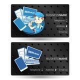 Computer hardware repair business card. Repair of computer equipment and phones visiting card royalty free illustration