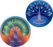 Computer hardware Tree emblem. Circuit board conductors tree design stock illustration