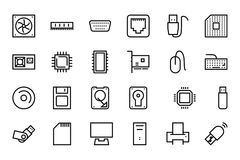 Computer Hardware Vector Line Icons 1 Royalty Free Stock Image