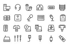 Computer Hardware Vector Line Icons 4 Royalty Free Stock Images