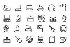 Computer Hardware Vector Line Icons 2 Stock Photo