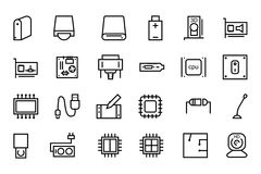 Computer Hardware Vector Line Icons 3 Royalty Free Stock Image