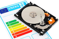 Computer HDD and energy efficiency. Open computer hard disc and energy efficiency chart stock photography