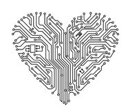 Computer heart Stock Photography