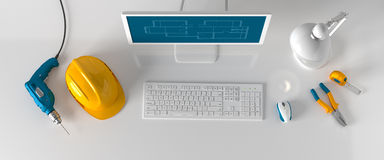 Computer, helmet and construction tools on white background. Computer, table lamp, helmet and construction tools on white background royalty free stock photos