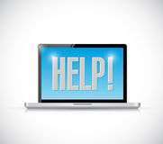 Computer help sign message illustration Stock Photos
