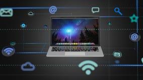 Computer het omringen door 3d app en sociaal pictogram - geef terug Royalty-vrije Stock Afbeeldingen