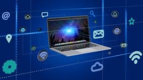 Computer het omringen door 3d app en sociaal pictogram - geef terug Stock Foto