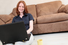 On the Computer at Home Stock Photography