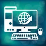 Computer icon on blue Royalty Free Stock Photos