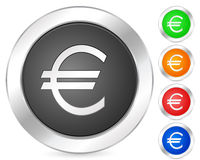 Computer icon euro. Computer circle icon set. Vector illustration Stock Images