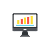 Computer icon in the flat style the monitor chart. Royalty Free Stock Photography