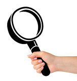 Computer icon magnifier in hand Royalty Free Stock Image