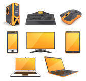 Computer icon (orange) Royalty Free Stock Images