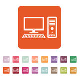The computer icon. PC symbol. Flat Stock Image