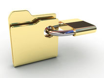 Computer icon for secure folder 3D illustration Royalty Free Stock Image