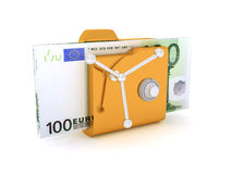 Computer icon for secure folder safe Pack 100 Euro Banknotes 3D illustration. Computer icon for secure folder safe Pack Of 100 Euro Banknotes 3D illustration Vector Illustration