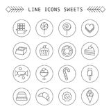 Computer icon set with different sweets Stock Photography