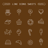 Computer icon set with different sweets Stock Images