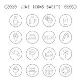 Computer icon set with different sweets Stock Image