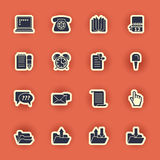 Computer icon set isolated on red Stock Photography