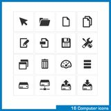Computer icon set. Vector black pictograms for web and mobile apps, internet, interface design. cursor, folder, file copy, edit, save, settings, network drive Royalty Free Stock Images