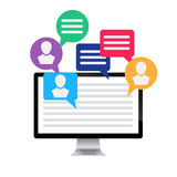 Computer and icon social media Stock Photography