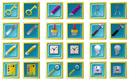Computer icons. Set of computer icons with up and down states Stock Photography