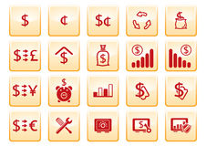 Computer icons. Red computer icons on yellow background vector illustration