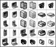 Computer Icons. Icons for network structure. computers and tools Royalty Free Stock Photos
